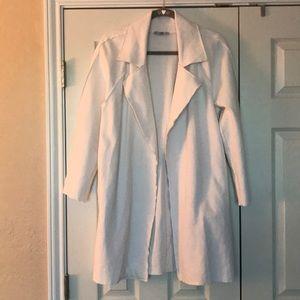 Zara white cardigan coat size M